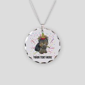 Custom Yorkie Birthday Necklace Circle Charm