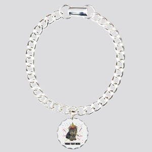 Custom Yorkie Birthday Charm Bracelet, One Charm