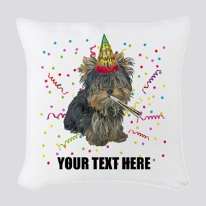 Custom Yorkie Birthday Woven Throw Pillow