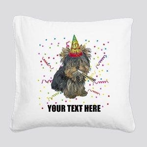 Custom Yorkie Birthday Square Canvas Pillow