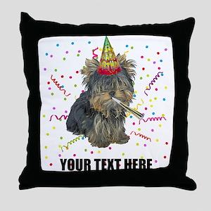 Custom Yorkie Birthday Throw Pillow