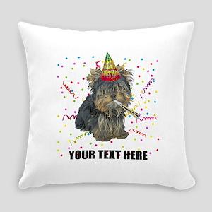 Custom Yorkie Birthday Everyday Pillow