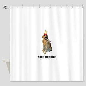 Custom Golden Retriever Birthday Shower Curtain