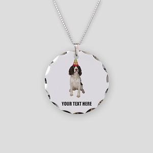 Custom Springer Spaniel Birt Necklace Circle Charm