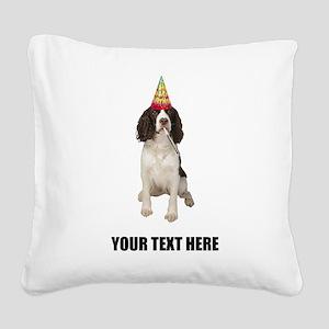 Custom Springer Spaniel Birth Square Canvas Pillow