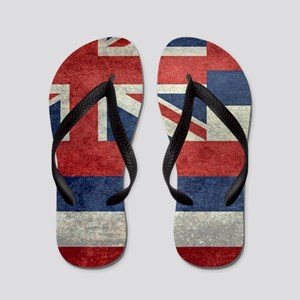 State Flag of Hawaii, retro style Flip Flops