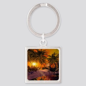 Sunset on the beach Keychains