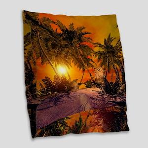 Sunset on the beach Burlap Throw Pillow