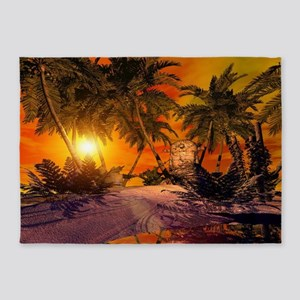 Sunset on the beach 5'x7'Area Rug