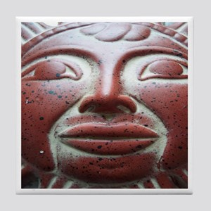 Mexican Sun God Icon Face Art Tile Coaster