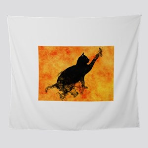 Smokey Cat on Orange Wall Tapestry