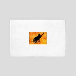 Smokey Cat on Orange 4' x 6' Rug