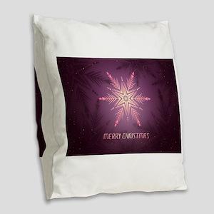 Pink Merry Christmas Snowflake Burlap Throw Pillow