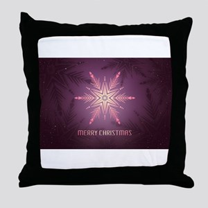 Pink Merry Christmas Snowflake Throw Pillow