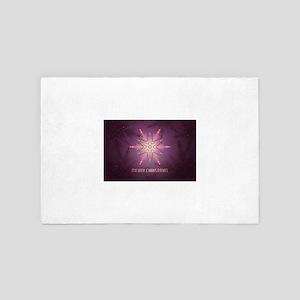 Pink Merry Christmas Snowflake 4' x 6' Rug