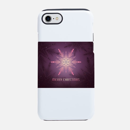 Pink Merry Christmas Snowfla iPhone 8/7 Tough Case