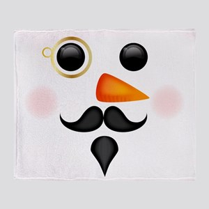 Fancy Snowman Face Throw Blanket