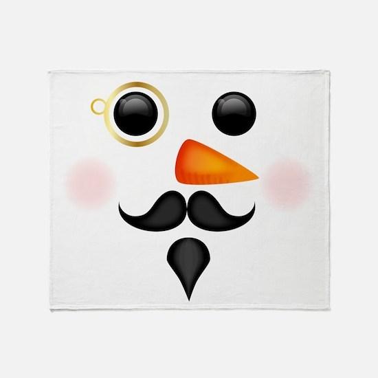 Fancy Snowman Face Throw Blanket