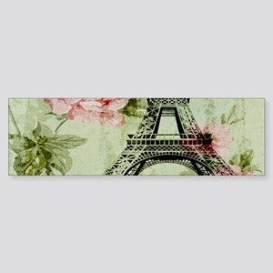 floral vintage paris eiffel tower Bumper Sticker