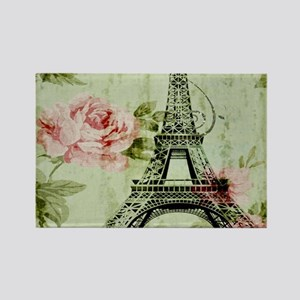 floral vintage paris eiffel tower Magnets