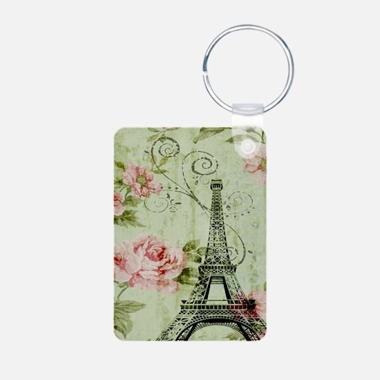 floral vintage paris eiffel tower Keychains