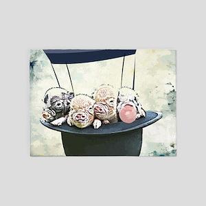Piggies in Hot Air Balloon Hat 5'x7'Area Rug