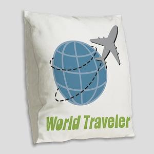 World Traveler Burlap Throw Pillow