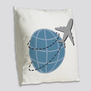 World Travel Burlap Throw Pillow