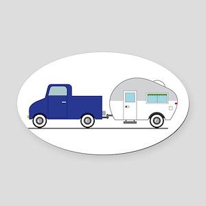 Truck & Camper Oval Car Magnet