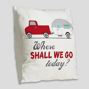 Where Shall We Go Burlap Throw Pillow