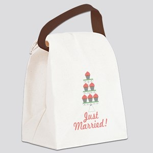 Just Married Cupcakes Canvas Lunch Bag