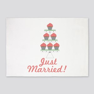 Just Married Cupcakes 5'x7'Area Rug