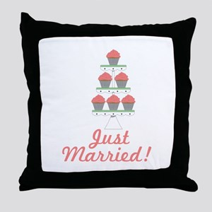 Just Married Cupcakes Throw Pillow