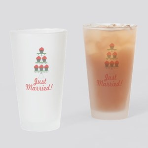 Just Married Cupcakes Drinking Glass
