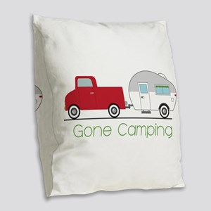 Gone Camping Burlap Throw Pillow