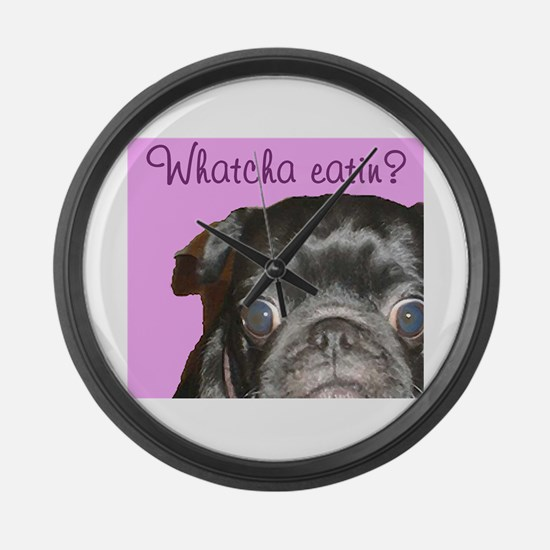 Whatcha Eatin Black Pug Large Wall Clock