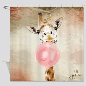 Giraffe Bubblegum Shower Curtain