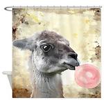 Llama Bubblegum Shower Curtain