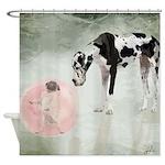 Great Dane And Pug Bubblegum Shower Curtain