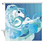 Abstract Blue Fantasy Horse Shower Curtain