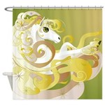 Abstract Gold Fantasy Horse Shower Curtain