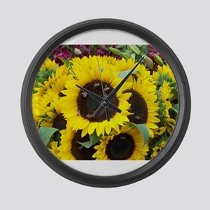Bee Dance On A Sunflower Day Large Wall Clock