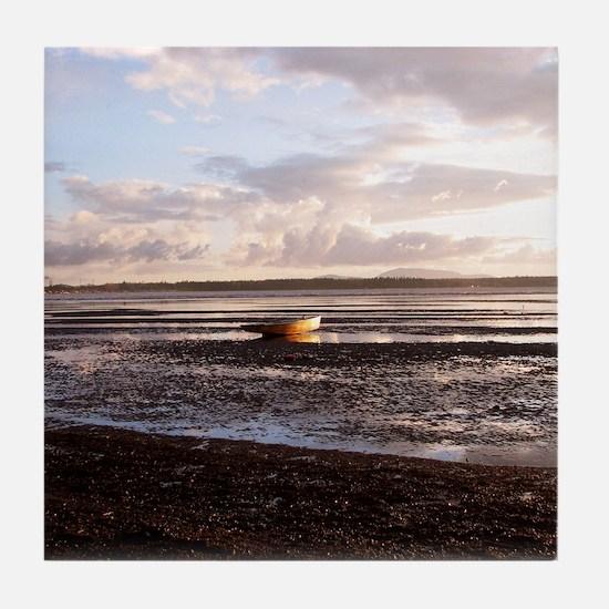 Rowboat At Low Tide Tile Coaster