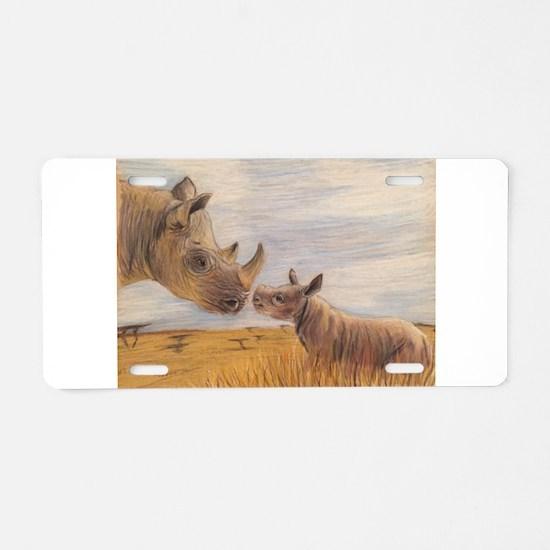 Rhino mom and baby Aluminum License Plate