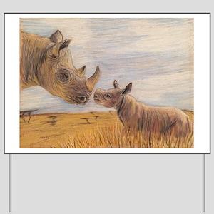 Rhino mom and baby Yard Sign