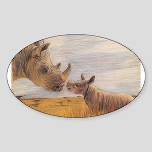Rhino mom and baby Sticker