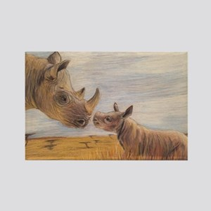 Rhino mom and baby Magnets