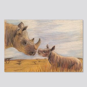 Rhino mom and baby Postcards (Package of 8)