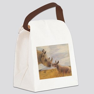 Rhino mom and baby Canvas Lunch Bag