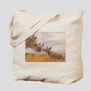 Rhino mom and baby Tote Bag
